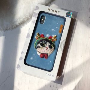 iPhone X/ XS 10 Case - 3D Embroidered Kitten Cat
